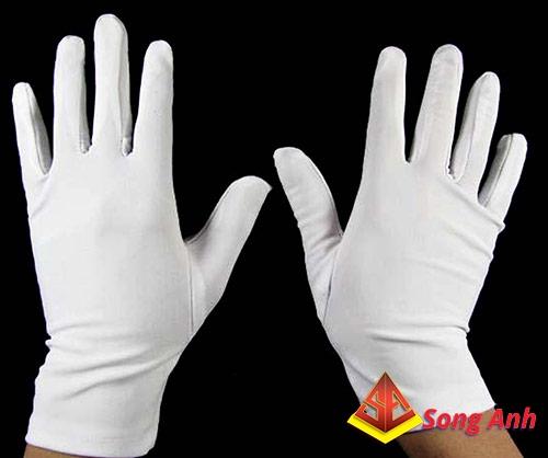 Găng tay len cotton trắng
