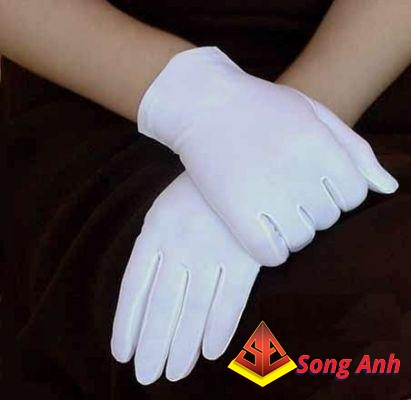 Găng tay vải thun trắng T8