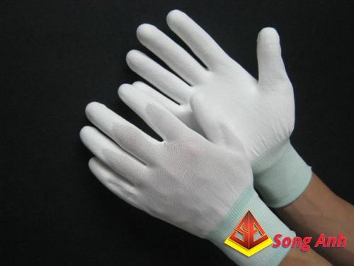 Găng tay chống cắt màu trắng phủ PU lòng bàn tay