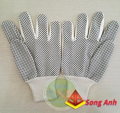 Găng tay vải chấm hạt nhựa đen